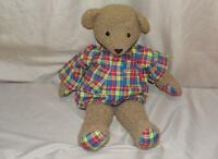 "North American Bear Company 16"" Bear with Bright Plaid Nightshirt and Paws"
