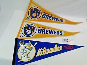 Milwaukee Brewers Baseball Pennants 1980's 1990's MLB (3) Felt Pennant