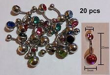Belly Bars 20pcs 316L Steel Gem Crystal Navel Ring