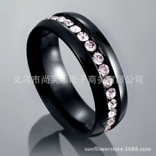 Black Cubic Zirconia Stainless Steel Wedding Engagement Women Band Ring Size 10