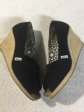 Toms Women's Black Fabric Slip On Wedge Heel Espadrilles Shoes Size Sz 9.5