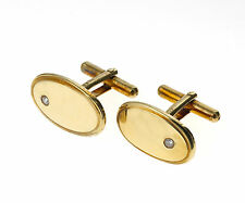 Diamond Cufflinks Solid Yellow Gold Hallmarked Handmade B'ham Jewellery Quarter