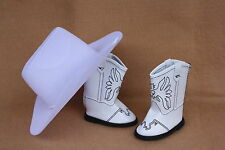 Doll Clothes fitting 18 in American Girl Western White Eagle Boots & White Hat