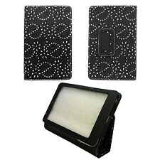 CASE FOR GOOGLE NEXUS 7 BLACK DIAMOND BLING GLITTER PRINT PU LEATHER COVER