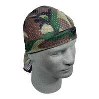 Woodland Camo Vented Mesh Sweatband Doo Du Rag head wrap Hunter Biker Hunting