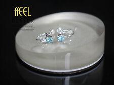 Clips a Vis Pour DIY Boucles d`Oreilles Argenté Cristal Bleu Clair Original