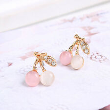 Trendy Lady Gold Plated Jewelry Elegant Cherry Rhinestone Crystal Stud Earrings