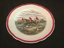 RARE RED RIM COPELAND SPODE HERRING HUNT 1 SALAD PLATE GOING TO HALLOA