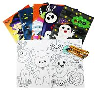 Halloween Coloring Books with Crayons Party Favors, Set of 6