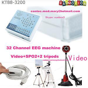 EEG Machine Digital Brain Mapping Systems 32 Channel Video+SPO2+SW KT88-3200,HOT