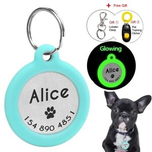 Dog Tags Personalized Glow In Dark Cat Pet Tag Silencer Round Name ID Collar Tag
