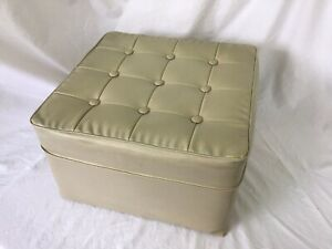 Vintage Retro Pouffe Stool Footstool Buttoned Top Cream Faux Leatherette Vinyl