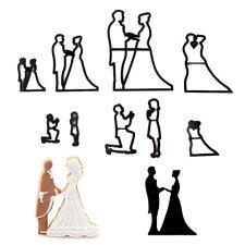 New listing 9pcs/set bride groom silhouette cookie cutter wedding cake fondant mold healt Pl