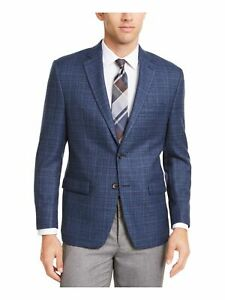 RALPH LAUREN Mens Navy Tattersall Work Sport Coat Size: 36 S
