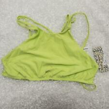 Frankies Bikinis Yellow Swim Top High Front Strappy Back Unlined Women's Size M