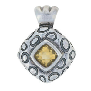 Sterling Silver Citrine Pendant - 925 Antique Cushion 1.80ct Polka Dot Solitaire