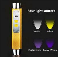4 in 1 10W 365nm 395nm UV Yellow White Blacklight Gemstone Amber Jade Flashlight