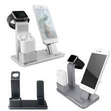 Stand basetta dock supporto carica iPhone+Airpods+Apple Watch ALLUMINIO ufficio