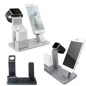 Stand Base Dock Mount Charger IPHONE+ Airpods+ Apple Watch Aluminium Office