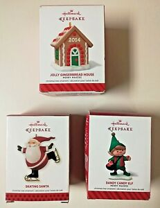 Jolly Gingerbread House Skating Santa Dandy Candy Elf Hallmark Ornament Lot of 3