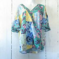 New Umgee Top 1X Green Floral Patchwork Flutter Sleeve Boho Peasant Plus Size