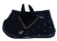 General Horse Saddle Pad Fly Veil Set Vented Cotton Honeycomb Fabric with Jewel