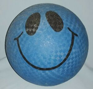 RINCO Retro Smiley Face Playground Ball- Blue, Rubber, Approx 8.5 Inches