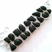 GORGEOUS 925 SILVER HANDCRAFTED NATURAL BLACK ONYX GEMSTONE BRACELET.