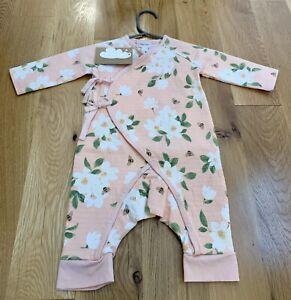 NWT Angel Dear Pink Magnolia Muslin Wrap Playsuit 3-6 Months