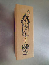 Country theme birdhouse rubber stamp