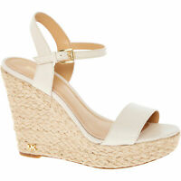 £135 MICHAEL KORS Jill Cream Leather Espadrille Ankle Strap Wedge Sandals UK 4