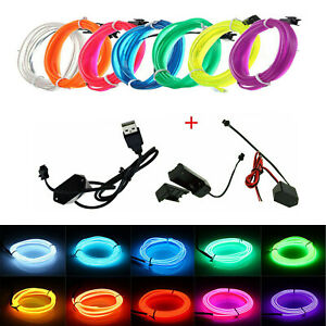 5m Neon LED Light Glow EL Wire String Strip Rope Tube Decor Car Party+Controller