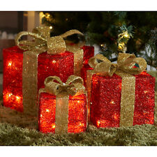 3pc LED Christmas Present Box Lights Parcel Gift Decoration Xmas Festive Home