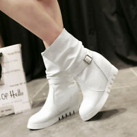 Fashion WOmen's High Hidden Heels Round toe Pu Leather Pull On Ankle Boots White