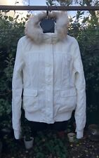 Sz 14 Cream Hoodie Parka Front Zip Fully Lined Length 64cm As New