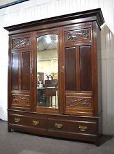 Antique Victorian freestanding triple Mahogany carved wardrobe