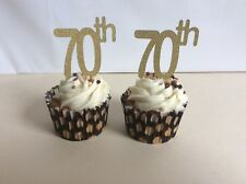 70 th BIRTHDAY OR ANNIVERSARY GLITTER GOLD CUP CAKE TOPPERS X 12