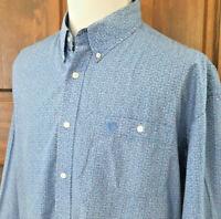 EUC GEORGE STRAIT WRANGLER COWBOY CUT Mens 4XL BLUE Geometric L/S Button Shirt