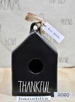 Rae Dunn Birdhouse THANKFUL Square Black White Letter NEW '20