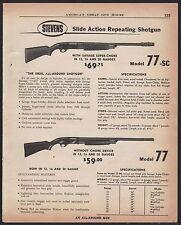 1956 STEVENS Model 77-SC w/ super choke and 77 Shotgun AD w/prices & specs
