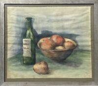 Aquarell Küchenstillleben mit Flasche und Äpfeln 1939 datiert 55 x 62 cm