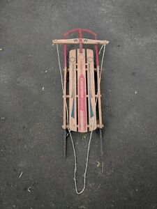 """RARE VINTAGE WOOD SLED Champion Fastback by Gladding  50"""" With Floating Steering"""