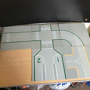 5 X Vintage Lego Grey City Baseplates Roads Junctions Corners RARE