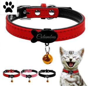 ID Kunstleder Halsband mit Gravur nach Wunsch für Katzen & kleine Hunde + Glocke