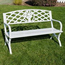 """50"""" inch Outdoor Park Bench Garden Backyard Chair Porch Seat Steel Frame, White"""