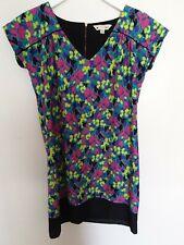 Yumi Dress Tunic Boxy Shirt Floral Loud Straight V neck Sleeveless Zip UK 12 40