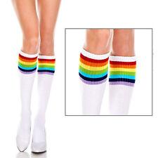 Solid Knee High Striped Rainbow Pride Cheer Costume School Girl Socks Sheer OS