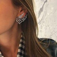 Angel Wings Gothic Rhinestone Crystal Stud Earrings Asymmetric Drop Earrings