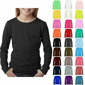 New Kids Girls Plain Long Sleeve Basic Stretch Round Neck T-Shirt School Tee Top