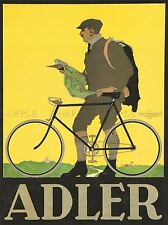 ADVERTISEMENT ADLER BICYCLE MAP MAN BIKE ART POSTER PRINT LV333